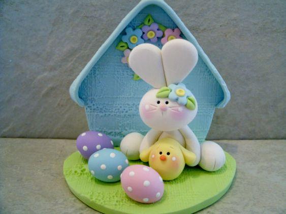 Lapin - poulet - oeufs de Pâques - Figurines