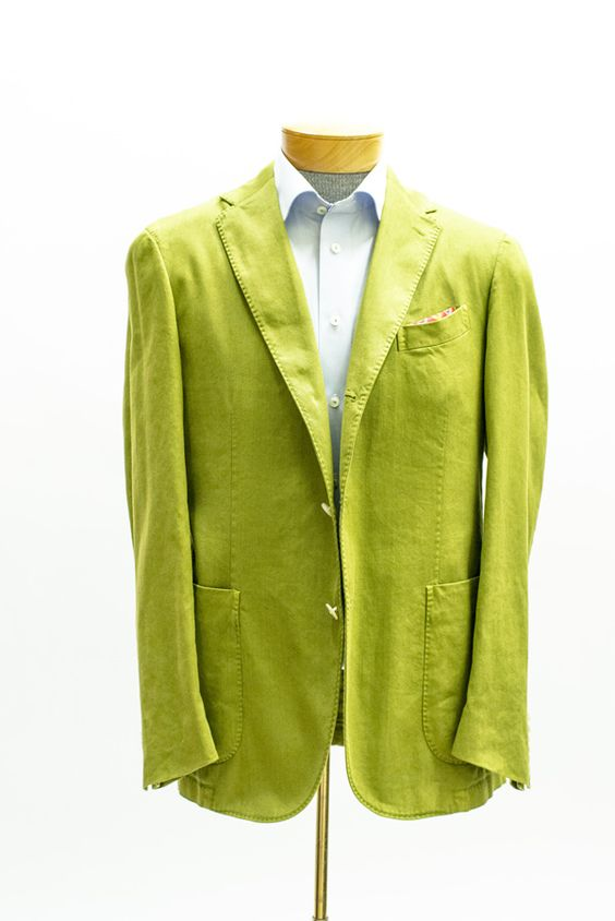 boglioli - hulk green cotton-linen twill sport coat