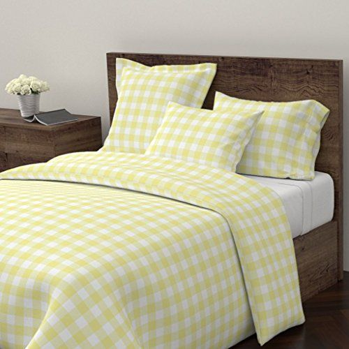 Roostery Yellow Gingham Duvet Cover Gingham Check Buffalo Check Gingham Watercolor Picnic Sugar Fresh By Black Duvet Cover Minimalist Pillows Duvet Covers Twin