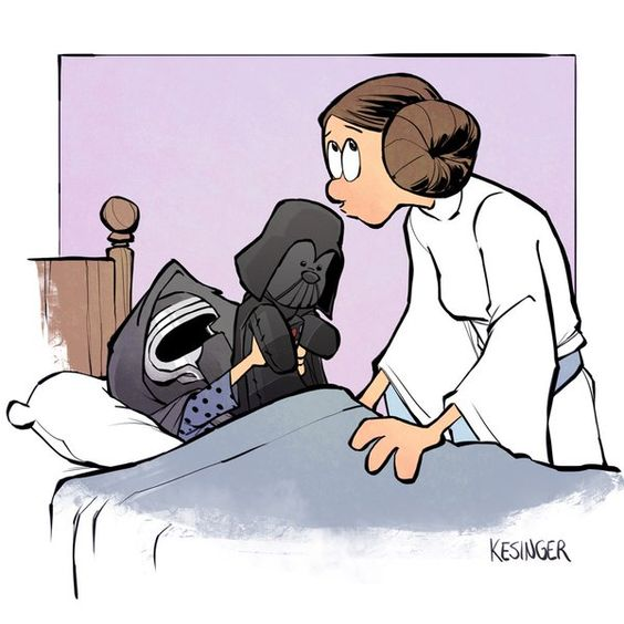 Leia and Kylo (Calvin and Hobbes and Star Wars mashup) - by Brian Kesinger - #2