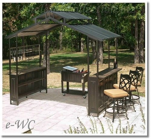 Outdoor hard top gazebo patio deck grill cover tiki style for Garden decking with gazebo