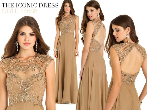Camille La Vie Iridescent Chiffon Long Evening Dress with Beaded Bodice and Open Back Detail for Homecoming, Prom or any fashion event or party