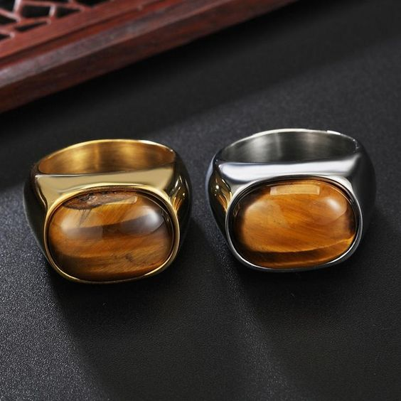 REZEX Tiger Eye Stone Finger Rings Men's Titanium Steel Ring at Banggood
