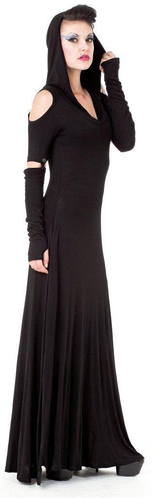 Langes, schulterfreies Kleid mit Kapuze aus der neuen Winterkollektion, verfügbar ab November.