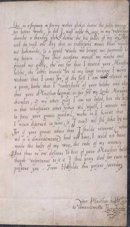 Letter (excerpt) From Princess Elizabeth To Edward VI Probably   Draft  Promissory Note Agreement  Draft Of Promissory Note