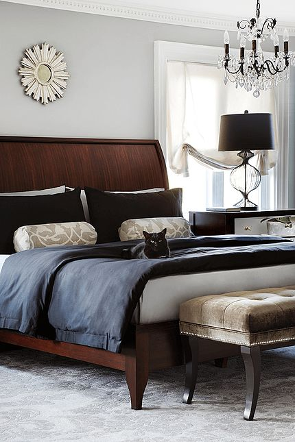 Master Bedroom Elegant Bed With A Curved Wood Headboard