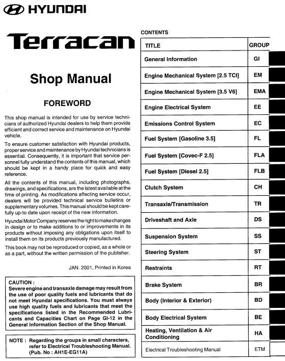 New Post Hyundai Terracan 2002 Shop Manual Ah1e Eg11 A Engine Mechanical System 2 5 Tci Has Been Published On Procarma Hyundai Manual Electrical System