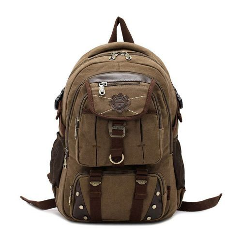 Kaxidy Vintage Canvas Backpack Rucksack Army Green