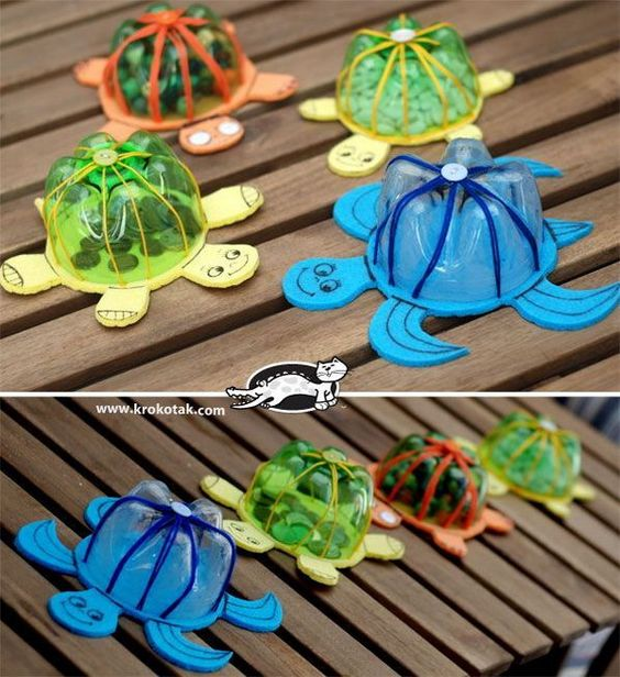 Plastic Bottle Turtle Shell Craft. With only a few easy-to-find materials, the kids can transform an old plastic bottle into fun turtle banks that's great for pool parties and bath time! Video tutorial via: