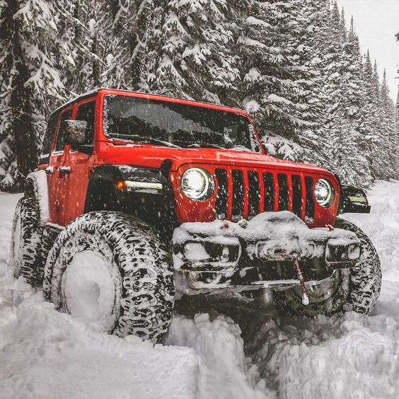 Red Jeep In The Snow Dream Cars Jeep Jeep Wrangler Lifted Jeep Cars