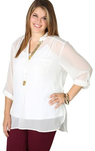 Plus Size Three-Quarter Sleeve Equipment top with Sequin Collar