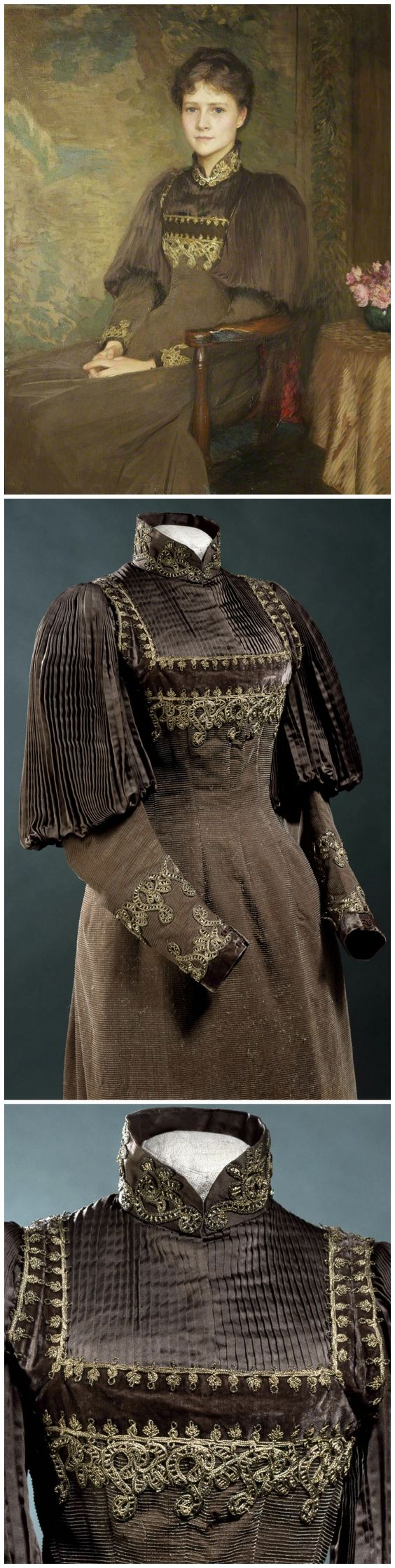 Woman's aesthetic or reform dress and bodice in wool with a ribbed weave, Great Britain, 1892-1895. The dress is a pinafore style, worn over a matching chocolate-brown silk satin bodice with a high braided gilt collar. Photos © Victoria and Albert Museum, London. Mrs Herbert Roberts, Lady Clwyd, is seen wearing the dress, which was probably from her trousseau, in George Clausen's 1894 portrait, now located at Walker Art Gallery, National Museums Liverpool (photo via BBC Your Paintings).: