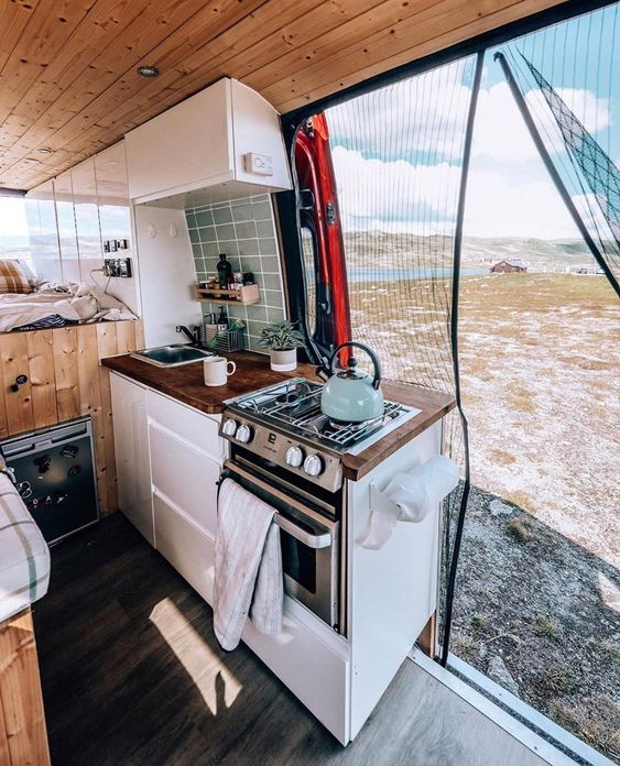 van life interior inspiration and van life aesthetic. So pleasing!