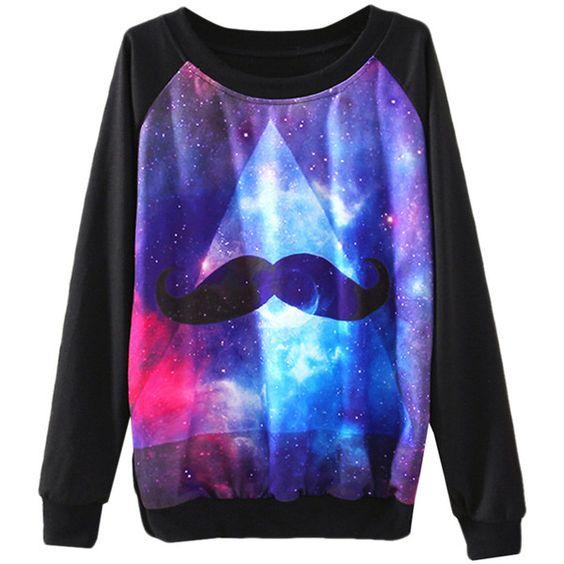 Black Ladies Crew Neck Galaxy Mustache Jumper Printed Sweatshirt (56 RON) ❤ liked on Polyvore featuring tops, hoodies, sweatshirts, shirts, sweaters, galaxy, black, black sweatshirt, black sweat shirt and moustache shirt