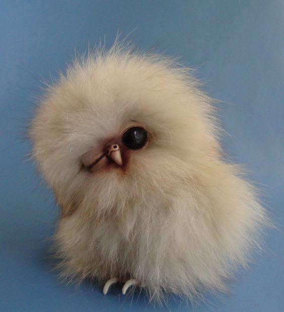 """Realistic Owl Snowy White Blue Eyes 10/"""" Fluff the Owl Fluffy Soft"""