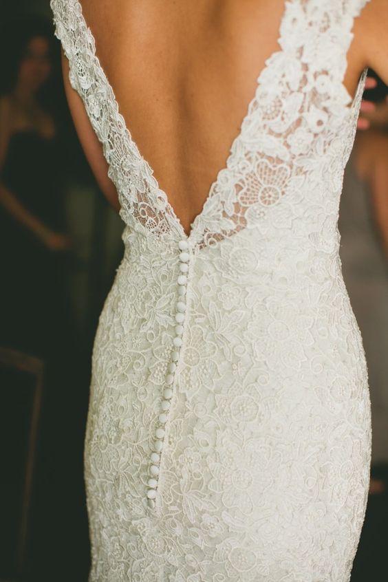 Lace backless wedding dress