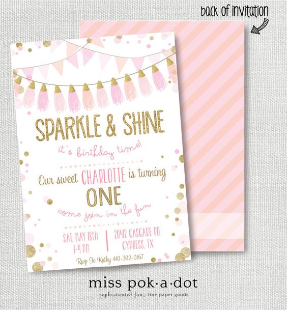 SPARKLE AND SHINE it's birthday time invitation pink gold glitter champagne blush tassel ...
