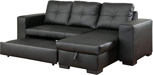 New Furniture Of America Charlton Contemporary Corner Sectional With Pull Out Sleeper Black Living In 2020 Leather Corner Sofa Sectional Sleeper Sofa Corner Sofa Bed