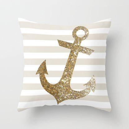 GLITTER ANCHOR IN GOLD Throw Pillow
