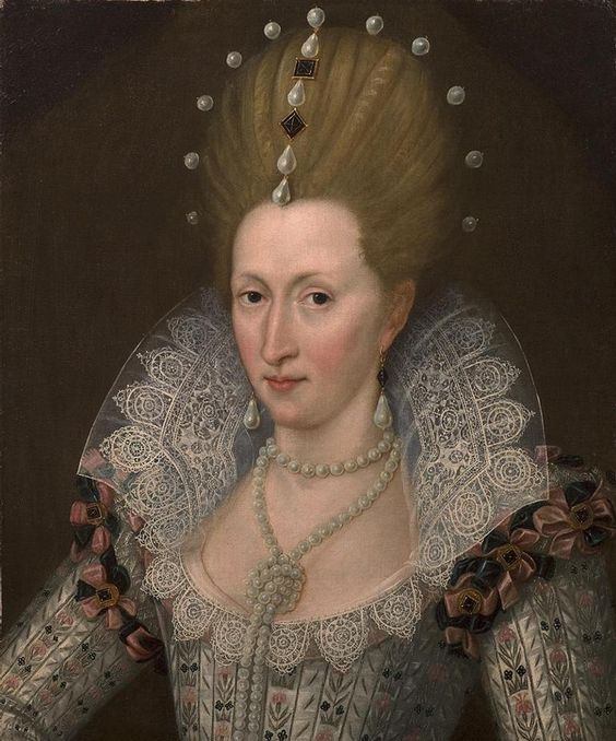 ca-1605-anne-of-denmark; she is wearing the same earrings as in the previous portrait.  What magnificent lace !