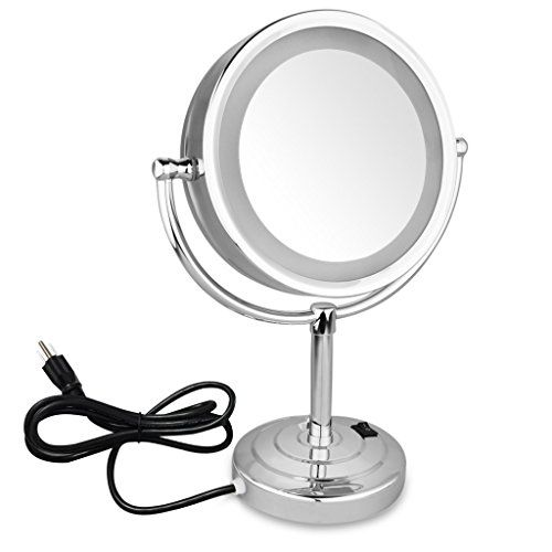 Excelvan Led Lighted 8 5 Inch Stand Double Sided Illuminated Cosmetic Make Up Shaving Bathroom Mirror With 1x And 7x Magnification Local Home Store Lighted Vanity Mirror Wall Mounted Makeup Mirror Mirror