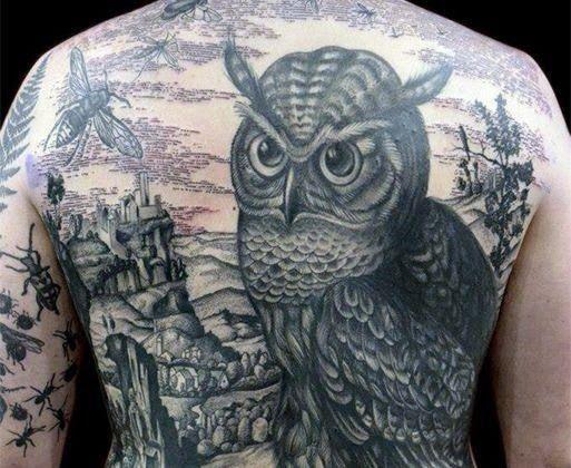 Fantastis 30 Tato Burung Hantu Di Punggung 40 Owl Back Tattoo Designs For Men Ide Tinta Burung Keren Unduh 630 Ga Di 2020 Tato Burung Hantu Tato Burung Burung Hantu