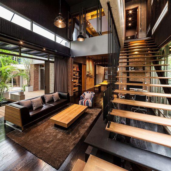 Industrial Decor - Modern Architecture - Bangkok Living...  Escadas com Soluções Modernas e de Segurança em Vãos de Escada e Varandas...  http://www.corrimao-inox.com  http://www.facebook.com/corrimaoinoxsp  #escadas #sobrados #pédireitoalto #Corrimãoinox #mármore #granito #decor  #arquitetura #casamoderna