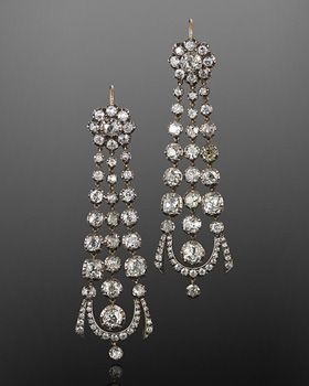 Georgian Old Mine Diamond Pendant Earrings, circa 1820s. Fred Leighton:
