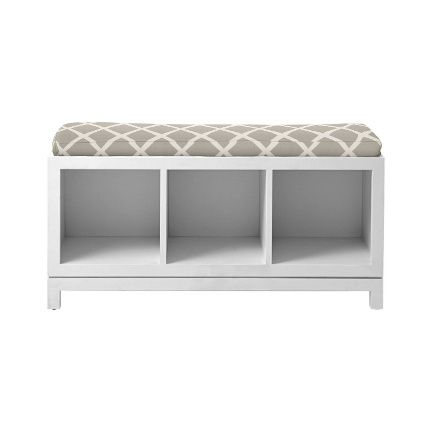 This campaign storage bench would add extra storage. Love the gray upholstery. $375