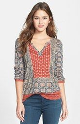 Lucky Brand Placed Print Scarf Top