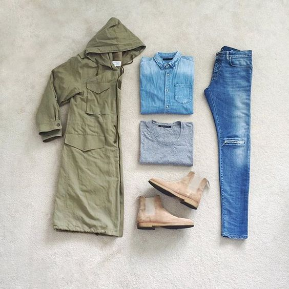 Spring layers  | #outfitgrid  ▫️#maisonmargiela coat  ▫️#allsaints denim shirt  ▫️#johnelliott t-shirt  ▫️#saintlaurent denim  ▫️#commonprojects chelsea boots    #Regram via @?taken-by=johnjunglee #flatlay #flatlays #flatlayapp www.theflatlay.com