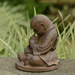 Brown Stone Baby Buddha Monk Sculpture (Indonesia)