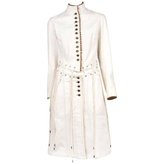 Preowned Alexander Mcqueen Ivory Laces Coat 2004 ($2,000) ❤ liked ...