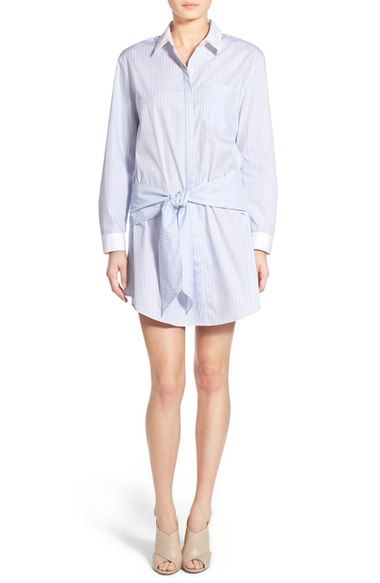 Free shipping and returns on Trouvé Stripe Shirtdress at Nordstrom.com. Recreate the sweatshirt-around-waist look with a crisp cotton shirtdress styled with a hidden front-button placket and a drapey self belt. Contrast cuffs and a curved shirttail hem complete the casual preppy look.