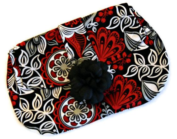 Soft Clutch Bag with Fabric Flower  Autumn/Fall  by AbeesArtStudio,