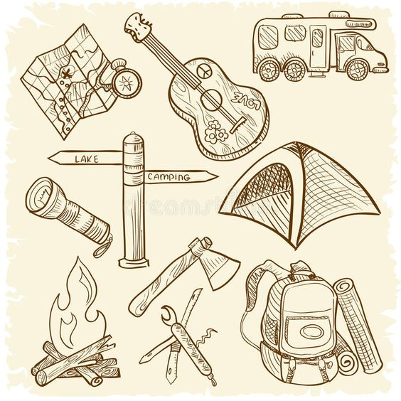 Camping icon set. Hand-drawn doodle on the camping theme isolated on white backg , #Sponsored, #Hand, #drawn, #set, #Camping, #icon #ad