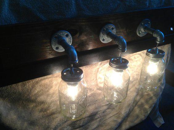 Primitive rustic mason jar hanging light fixture country wood vanity bathroom hanging lights - Primitive bathroom vanity lights ...