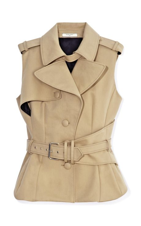 Fashion Month Must: a classic trench that works for warm weather; Sleeveless Trench Top by Bouchra Jarrar Now Available on Moda Operandi