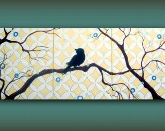 bird in a tree art yellow moroccan stencil painting...HUGE Original Abstract Contemporary Modern Art Multi Panel Painting by HD Greer