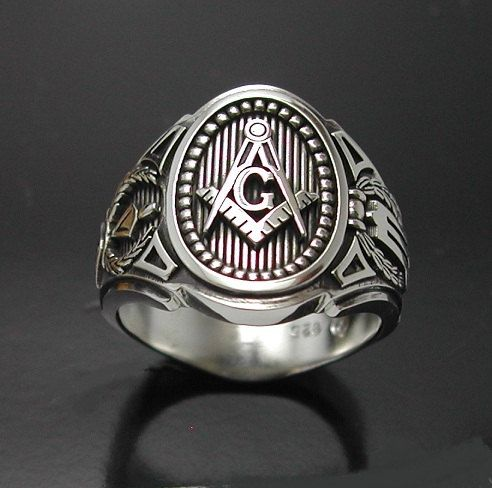 masonic ring in sterling silver cigar band style 011