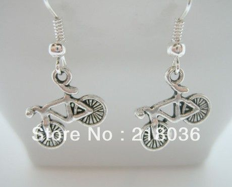 Wholesale 50Pair Fashion 925 Sterling Earrings Antiques Silver Alloy Cute Bicycle Charms Pendants DIY Making Jewelry M2695 $37.99