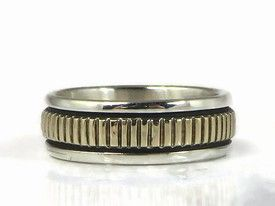 14k Gold Sterling Silver Band Ring Size 8 by Bruce Morgan, Navajo - 14k Gold Sterling Silver Band Ring Size 8 by Bruce Morgan, Navajo | Southwest Fashion | Native American Jewelry