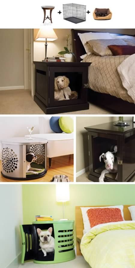 Aww how cute, a bedside kennle... I'd use it for my cats of cause | 10 Awesomely Clever Pet Friendly Furniture Items - Oddee.com