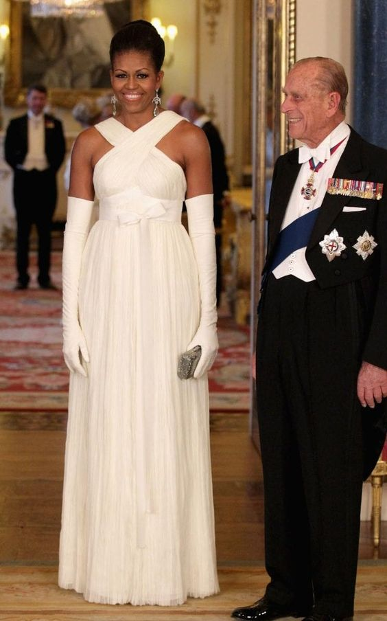 In 2011, Michelle graced Buckingham Palace in this stunning white Tom Ford gown