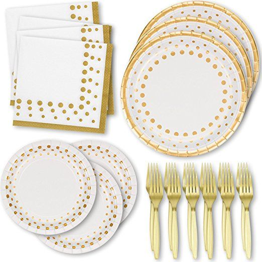 White And Gold Dot Disposable Paper Plates Napkins 50 Dinner Plates 50 Dessert Plates 100 Luncheon Napkin Bridal Shower Party Gold Dots Wedding Renewal Vows