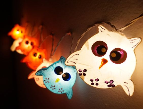 35 Handmade Owls paper lantern string lights kid by smilecotton