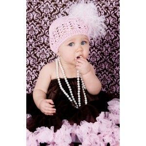 Paris in Pink Fancy Feather Baby Crochet Hat