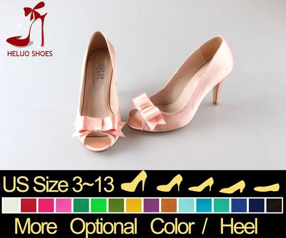 Cheap CHS435 22Colors encargo hecho a mano elegante Calzado abierto Bow melocotón zapatos de boda Zapatos Mujer Zapatos Mujer High Heels Pumps Mujeres, Compro Calidad Bombas directamente de los surtidores de China:                   ¿Por qué elegirnos ?        ( 1 ) Los grandes pedrería y perlas en nuestros zapatos   se