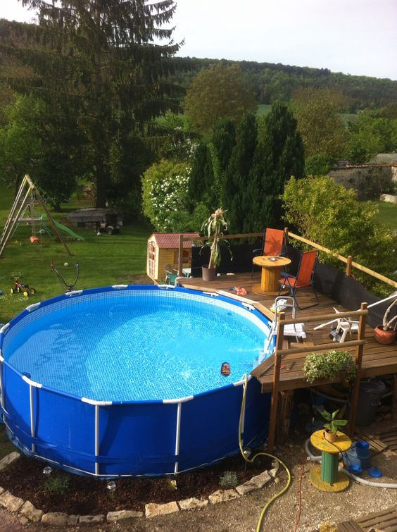 Id e am nagement terrasse pour piscine hors sol am nagement ext rieur pinterest for Idee piscine