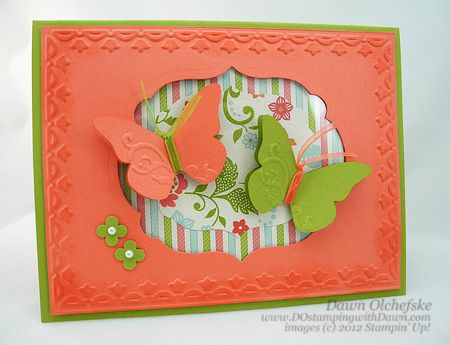 Butterflies and embossing folder. Love the butterfly bodies made out of ribbon.